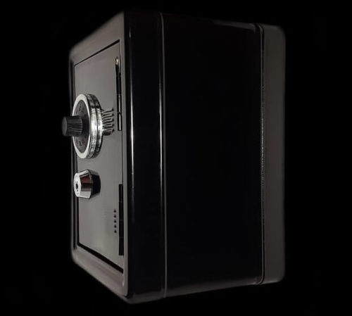 image of a black safe with a combination dial