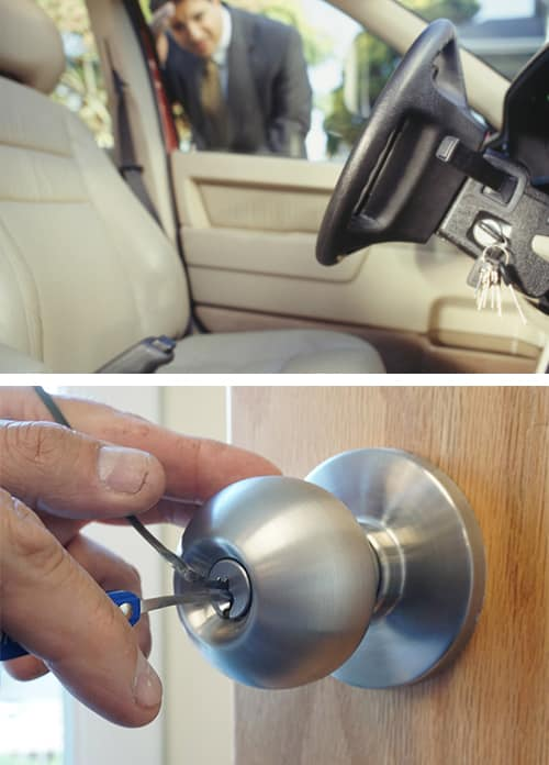 image of man looking at his keys locked in his car (top) and a door lock being picked (bottom)