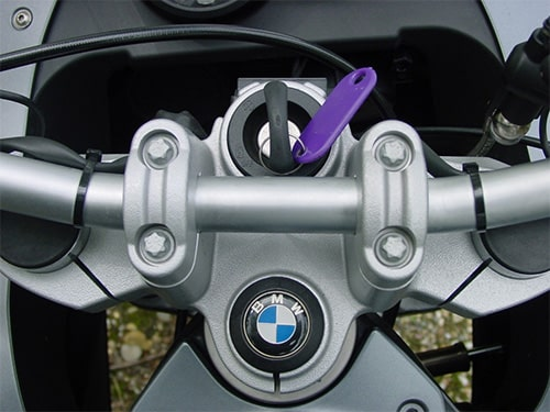 BMW motorcycle with a newly cut key in the ignition